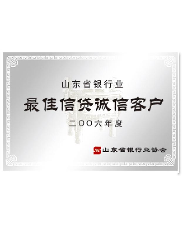 山东省银行业最佳信贷诚信客户